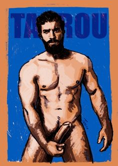Gay art of Tarrou. Stand Front Male nude.