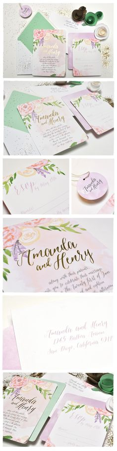 Peony with Foil Wedding Invitation Suite | Smitten On Paper. Hand illustrated flowers with watercolor and gold foil make for the perfect pair.