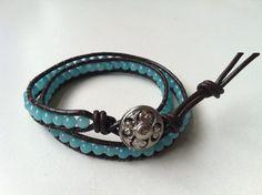 Chan Luu Style Amazonite Gemstone Double Leather by maribella08