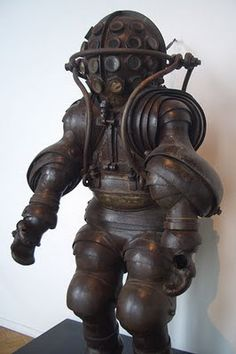 19th Century Deep-Sea Diving Suit (described as never being used) by Alphonse and Théodore Carmagnolle, on display at the National Marine Museum in Paris.