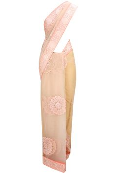 Soft pink thread embroidered sari with matching tone-on-tone embroidered blouse available only at Pernia's Pop-Up Shop.