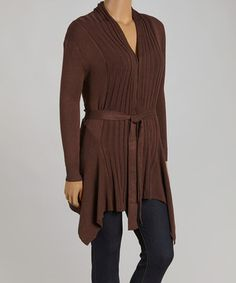 Look what I found on #zulily! Brown Ribbed Open Cardigan - Plus by C.O.C. #zulilyfinds