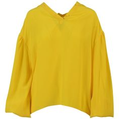 Balloon Sleeve Crepe Blouse (8.508.540 IDR) ❤ liked on Polyvore featuring tops, blouses, womenclothingshirts, yellow, balenciaga, ruched top, yellow necktie, crepe top and crepe blouse