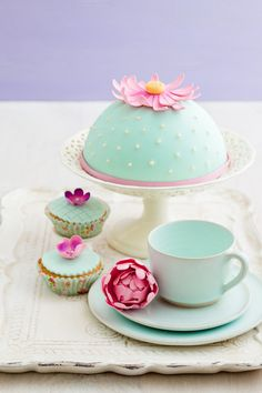 Decorated cake and cupcakes by foodphotolove on Creative Market