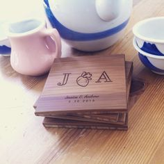 Personalized Coaster Set of Custom Engraved Coasters, Engraved Initials Coasters, Gift for Couple, Wedding Gift, Engagement Present Personalized Coasters, Wooden Coasters, Custom Coasters, Personalized Gifts, Engagement Presents, Engraved Gifts, Wood Gifts, Couple Gifts, Custom Engraving
