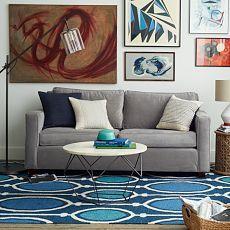 West Elm Heath Sofa - 'Shadow' or 'Steel Blue' brushed velvet