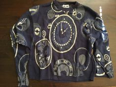 VINTAGE KRIZIA MAGLIA BLUE WATCH PRINT SWEATER HIPSTER EMO ITALY SMALL 80's rare #KRIZIA