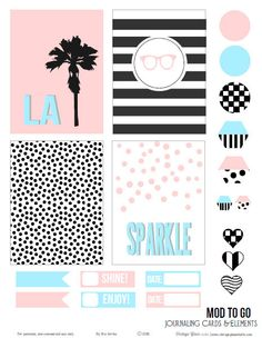 Black, White & Pastel Journaling Cards   Free printable download for personal use only
