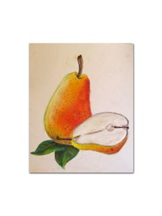 Pear Pastel Painting - Pear Art - Pear Drawing - Kitchen Art - Kitchen Decor - Pear Decor - Fall Art - Fall Decor