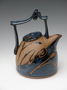 Ribbon handled parabola teapot by Dana Lehrer Danze  | Torpedo Factory Art Center