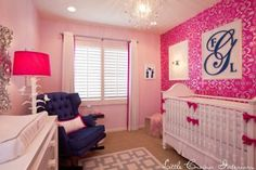 Decorating with Navy and Hot Pink - so cute for a little girl's room!