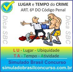 Teoria do LUGAR e TEMPO do CRIME: ART. 6º DO Código Penal  Primeiro é com relação ao lugar do crime, que segue a teoria da ubiquidade e também com relação ao tempo do crime a qual se adota a teoria da atividade do crime, então  LU TA  L U - l ugar - U biquidade T A - T empo – A tividade  -----------------  Descubra!!! Compartilhe!!! Curta!!!  Muito Obrigado e Bons Estudos, Simulado Brasil Concurso  http://simuladobrasilconcurso.com.br/  #simuladobrasilconcurso, #dicaSBC
