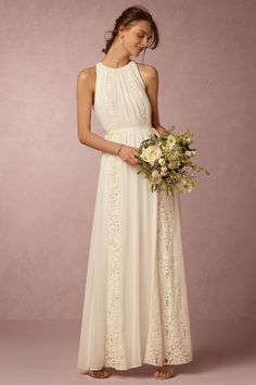simple wedding dress will lace detail | Chandler Dress from BHLDN