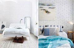 dormitorio pared de ladrillo blanco 1 Paredes de ladrillo blancas en el dormitorio