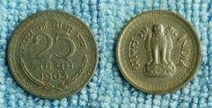 1963 IND 25PAISE Rupye Ka Chotha Bhag Naye Paise