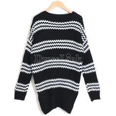 Korea Women\'s Soft Striped Pocket Jumper Sweater Top Loose Knitwear