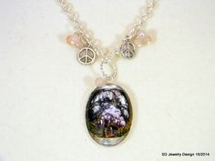 Tree Picture Pendant Necklace with Pink by SDJewelryDesign16, $30.00