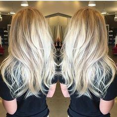Sorta Straight/Sorta Wavy Long Platinum-Blonde Layered Hair