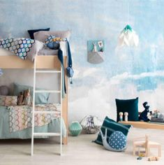 Blue skies all year round in this double stunner created by and captured by for Minty Toddler Rooms, Toddler Bed, Kids Rooms, Little Boys Rooms, Decor Scandinavian, Childrens Beds, Shared Rooms, Kids Wallpaper, Bed Storage