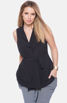 ELOQUII Belted Double Layer Vest (Plus Size) | Nordstrom