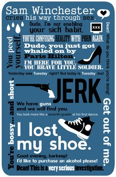 sam winchester quotes  | Supernatural - Sam Winchester Quotes Art Print by natabraska ...