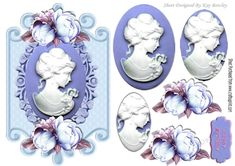 pretty cameo lady with blue roses on a plaque, oval pyramids makes a pretty card, can be seen in other colours and designs