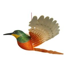 Hand Carved Jacamar Wooden Fan Bird Woodland Hanging Mobile, Wood... ($49) via Polyvore featuring home, home decor, integritytt, wood home decor, mobile home decor, inspirational home decor, bird home decor and wooden home decor