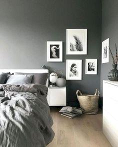 8 Fabulous Tricks: Minimalist Home Bedroom Minimalism minimalist home diy drawers.Minimalist Home Bedroom Minimalism minimalist bedroom simple home decor. Black And Grey Bedroom, Gray Bedroom Walls, Grey Bedroom Design, Bedroom Design Inspiration, White Interior Design, Grey Room, Bedroom Designs, Grey Walls, Bedroom Carpet