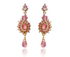 TRADITIONAL   DESIGNER  WOMEN DROP EARRINGS GOLD N PINK COLOR LOOKING NEW FASHIO #REEMAJEWELS #DropDangle