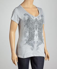 Take a look at this Gray Embellished Angel Wings V-Neck Top - Plus by Urban X on #zulily today!