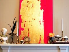Try out the colorful metallics trend with a DIY art project. Paint a canvas with a bold hue of your choice, then add gold, silver or copper leaf to make it shimmer. Image courtesy of HOME