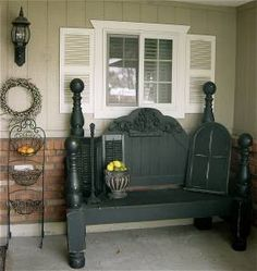 Outdoor bench out of old bed