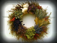 Christmas Wreath Herbs | Dried Herb Culinary Wreath with Garlic and Chiles 14 inch. I Have to ...