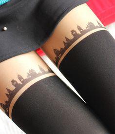 City skyline tights