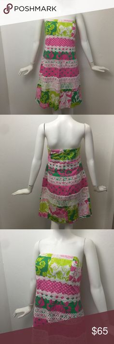 """Lilly Pulitzer mixed print & lace strapless dress In perfect condition Lilly Pulitzer mix print and lace strapless dress.  This dress is absolutely stunning.  It is more of a strapless sheath.    Measurements:  Chest: 18"""" Waist: 17.5"""" Hips: 22"""" Length: 32"""" Lilly Pulitzer Dresses Strapless"""
