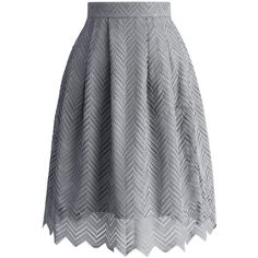 Chicwish Zig Zag Full Lace Pleated Skirt in Grey ($42) ❤ liked on Polyvore featuring skirts, grey, grey skirt, gray pleated skirt, grey lace skirt, lacy skirt and pleated lace skirt