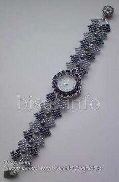 Браслет для часов Beaded Jewelry Patterns, Bracelet Patterns, Beaded Watches, Elegant Watches, Watch Bands, Bracelet Watch, Jewelry Bracelets, Handmade Jewelry, Jewelry Design