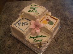 High School Graduation Cakes for 3 girls   this is a graduation cake i made for my husband s cousins graduation ...