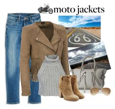 """""""Moto Jackets"""" by penelopepoppins ❤ liked on Polyvore featuring Fate, Rebecca Minkoff, Alexander Wang, Laurence Dacade, Ray-Ban, jeans, aviators and motojackets"""