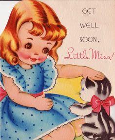 Vintage 1950s Get Well Soon Little Miss Greetings Card (B5). ◅