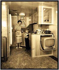 Van Life Discover Vintage Trailer Print - Schult Mobile Home Interior - Classic Trailer Park Living - Streamline Modern Birch - Vintage Portable TV Classic Trailers, Vintage Campers Trailers, Retro Campers, Vintage Caravans, Vintage Motorhome, Retro Caravan, Camper Trailers, Happy Campers, Trailer Interior