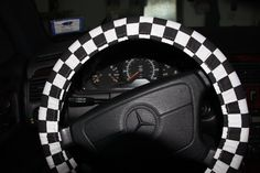 Unisex Steering Wheel Cover . Black and White Big Ckecks Cover Wheel  .Classic Cover Wheel. Father's Day Gift .