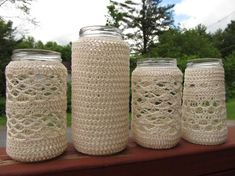 Signed With an Owl: Crocheted Jars#naturadmc