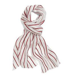 Brooks Brothers Linen and Cotton Striped Scarf. It measures 13 inches by 71 inches and features red and navy stripes