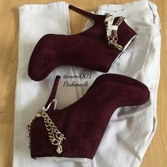 Vince Camuto Burgundy Suede Angle Boots NWOT Bought these super sexy ankle suede…
