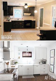 Before & After Kitchen Remodel Diy Kitchen Remodel, Kitchen Redo, New Kitchen, Kitchen Ideas, Kitchen Designs, Home Renovation, Home Remodeling, Kraftmaid Kitchen Cabinets, Oak Cabinets