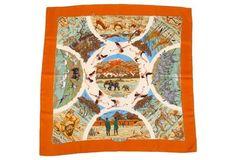 Hermès Orange Silk Anzanie Scarf Dallet