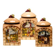Certified International Tuscan View Lead-free 3-piece Ceramic Canister Set (Lead free ceramic)