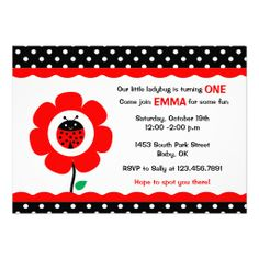 Cute Flower and Ladybird polka dots birthday party Custom Invitations