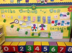 Reception - Maths working wall to support learning.